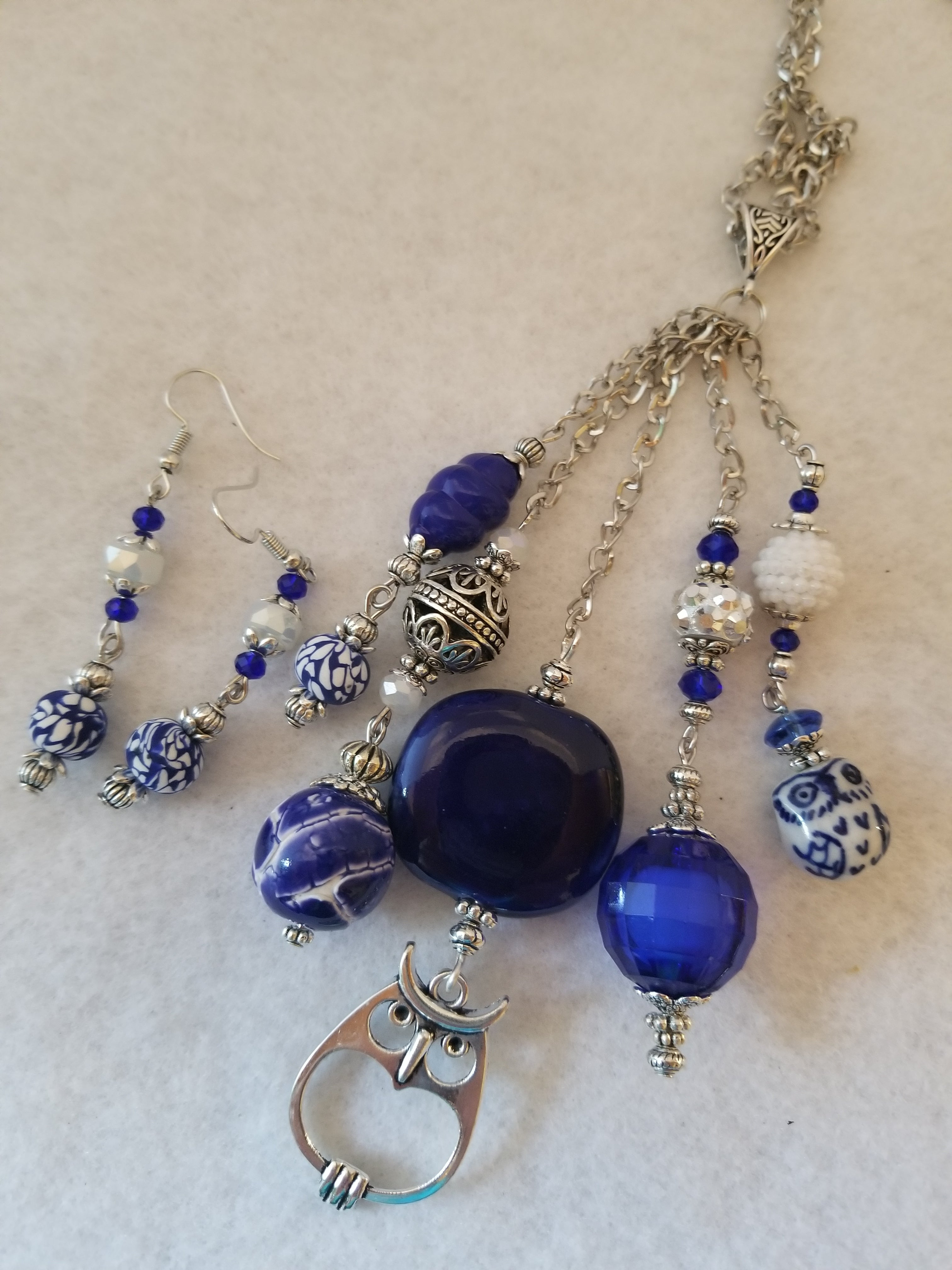 Blue Wisdom Necklace with Earrings