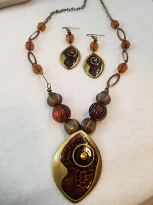 Brown Abstract Necklace with Earrings