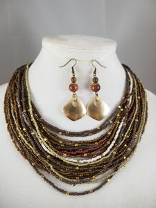 Brown Beadie Necklace with Earrings