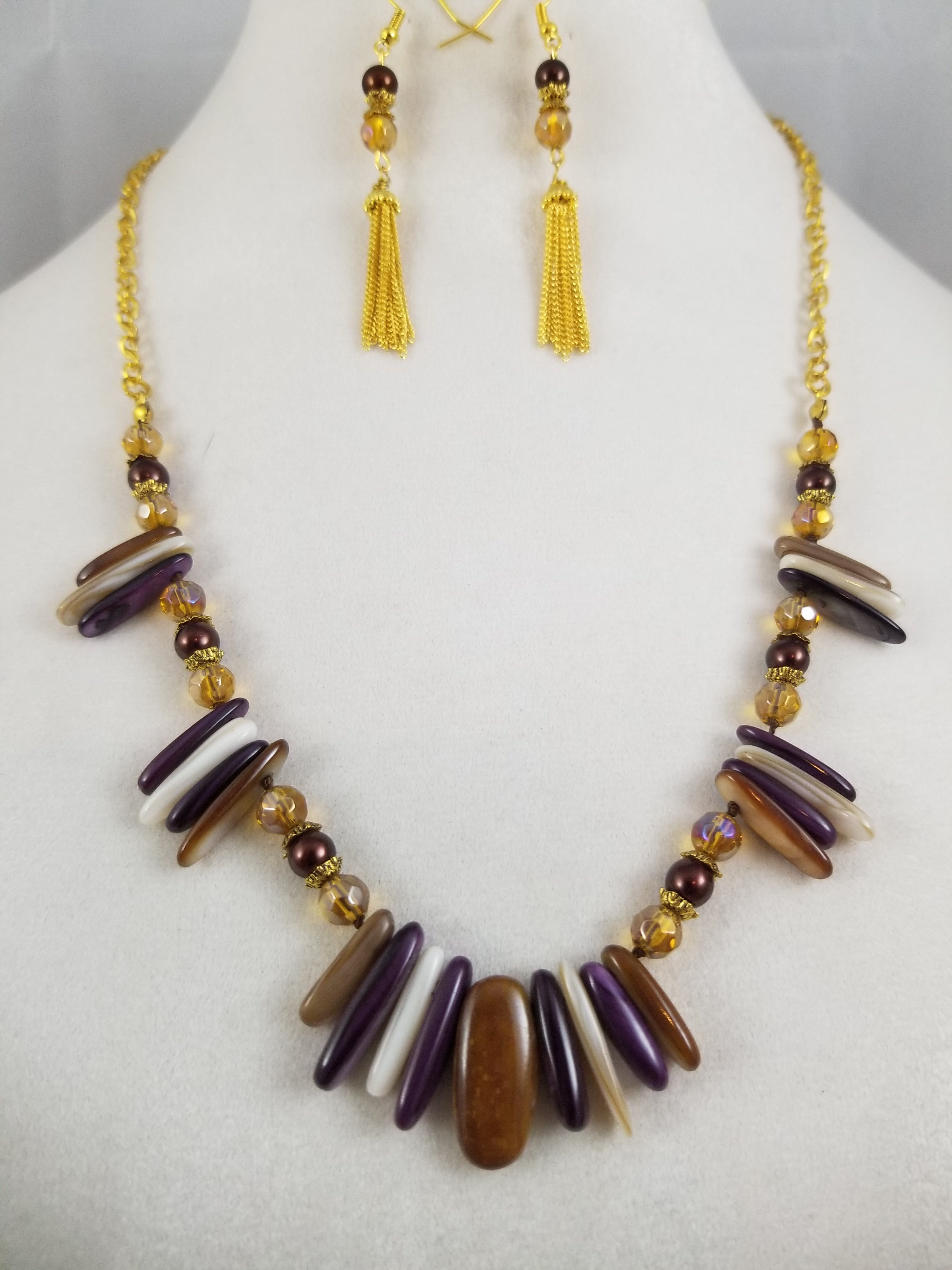 Brown Dagger Necklace with Earrings