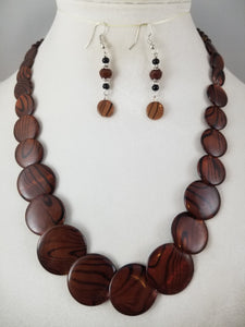 Brown Zebra Necklace with Earrings