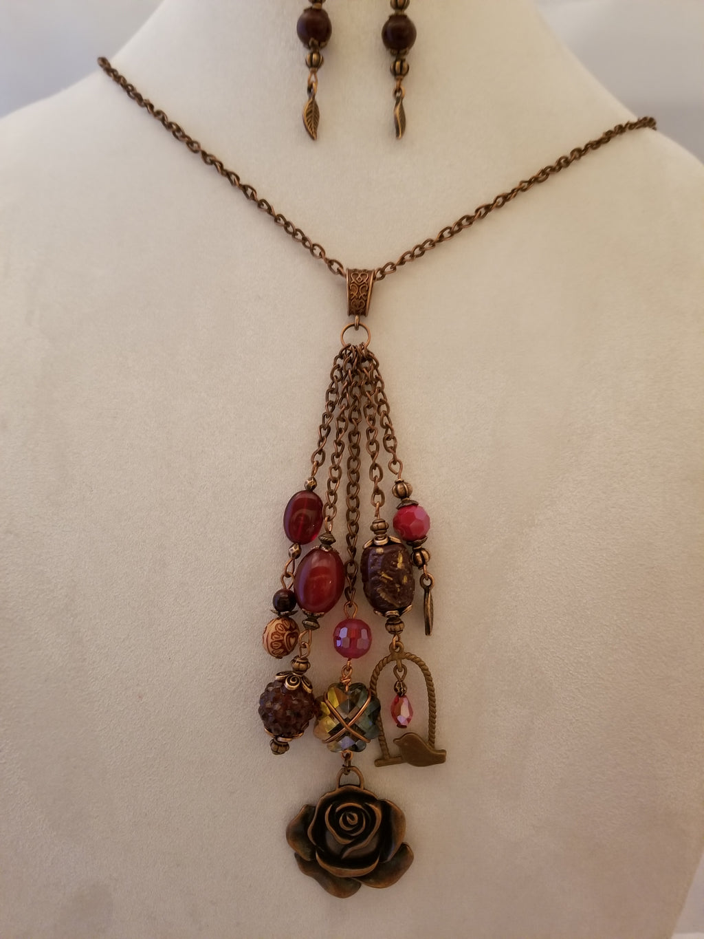 Burgundy Rose Necklace with Earrings