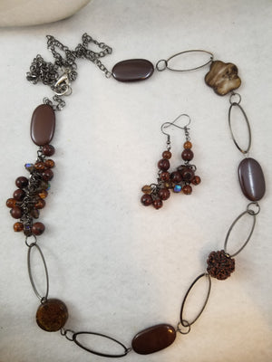 Coffee Beans Necklace with Earrings