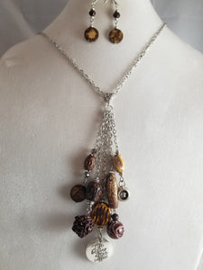 Coffee Time Necklace with Earrings