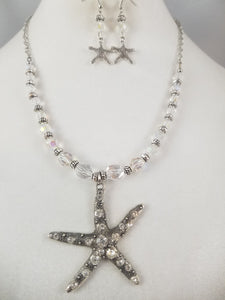 Crystal  Starfish Necklace with Earrings