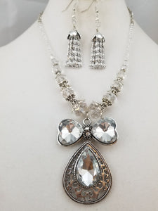 Crystal Bow Persuasion Necklace with Earrings