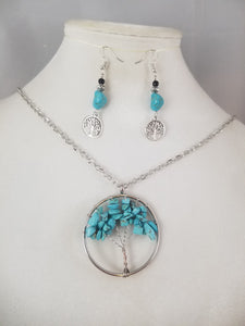 Faux Turquois Tree of Life Necklace with Earrings