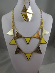 Geometric Yellow Necklace with Earrings