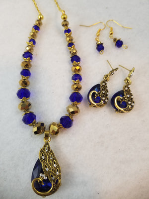 Golden Peacock Necklace with Earrings