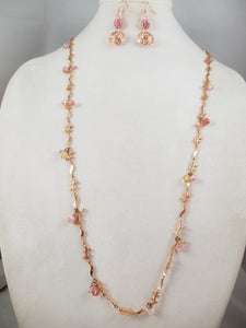 Golden Rose Necklace with Earrings