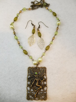 Green Fairy Necklace with Earrings