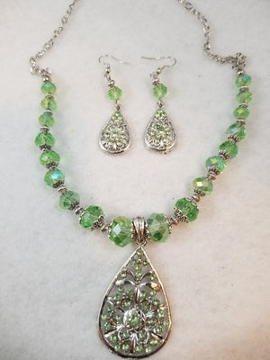 Green Pear Necklace with Earrings