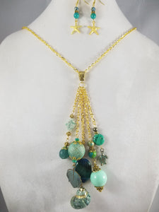 Green Sea Necklace with Earrings