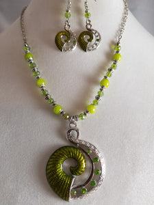 Green Spiral Necklace with Earrings