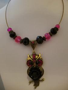 Hot Pink Owl Necklace