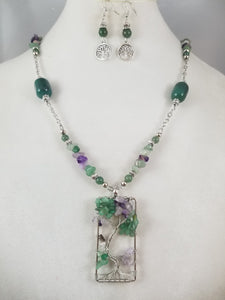 Jade Tree of Life Necklace with Earrings
