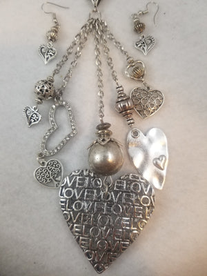 Love Love Love Necklace with Earrings
