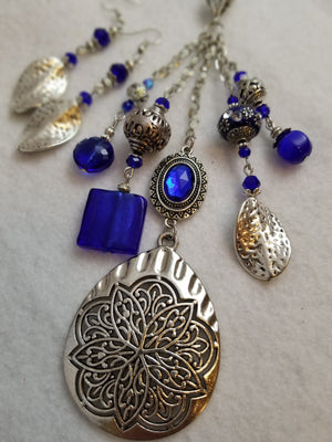 Medallion Blue Necklace with Earrings