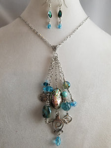 Ocean Turtle Necklace with Earrings