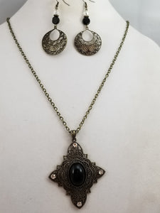 Old World Charm Necklace with Earrings