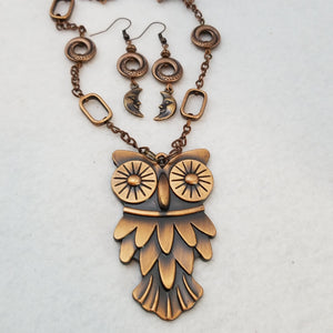 Owl and Moon Necklace with Earrings