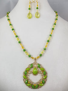Parakeet Necklace with Earrings