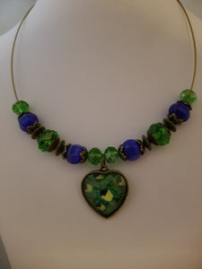 Peacock Heart Glass Necklace