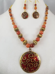 Persimmon Necklace with Earrings