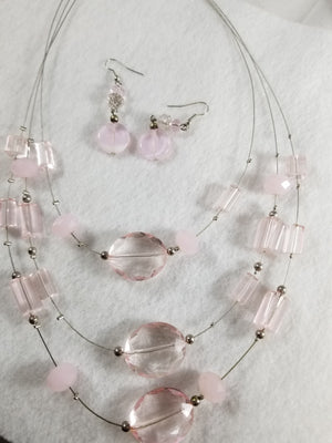 Pink Layers Necklace with Earrings