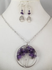 Purple Tree of Life Necklace with Earrings