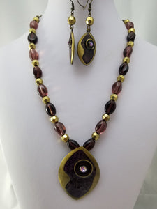 Purple Eye Necklace with Earrings