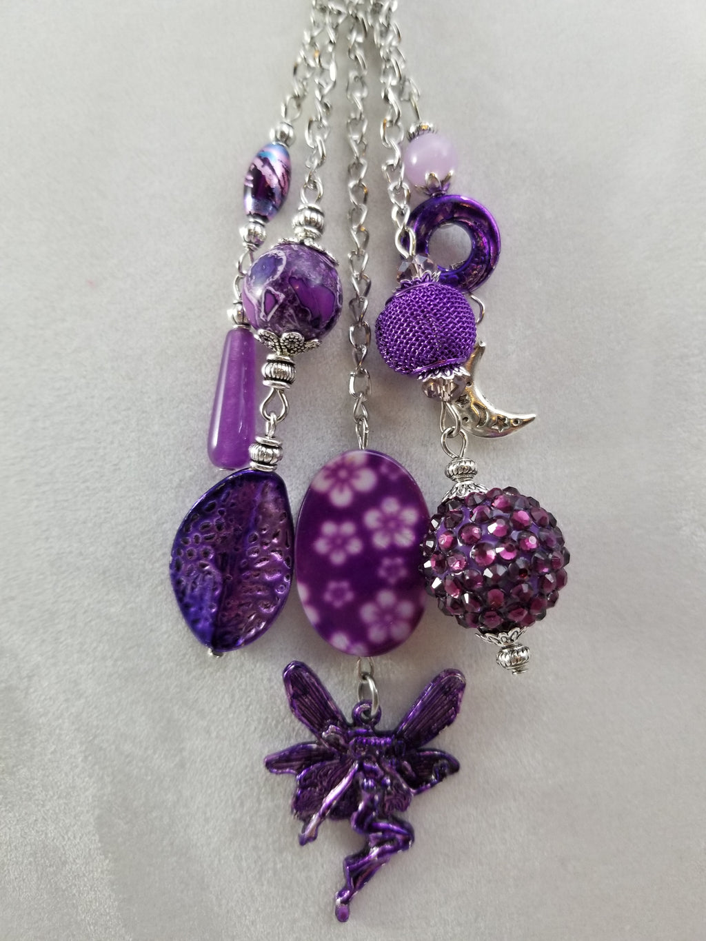 Purple Moon Fairy Necklace with Earrings