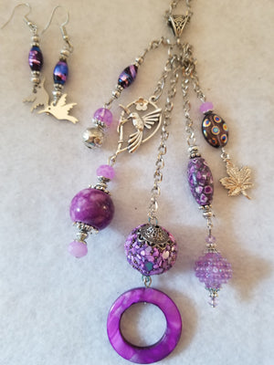 Purple Spring Necklace with Earrings