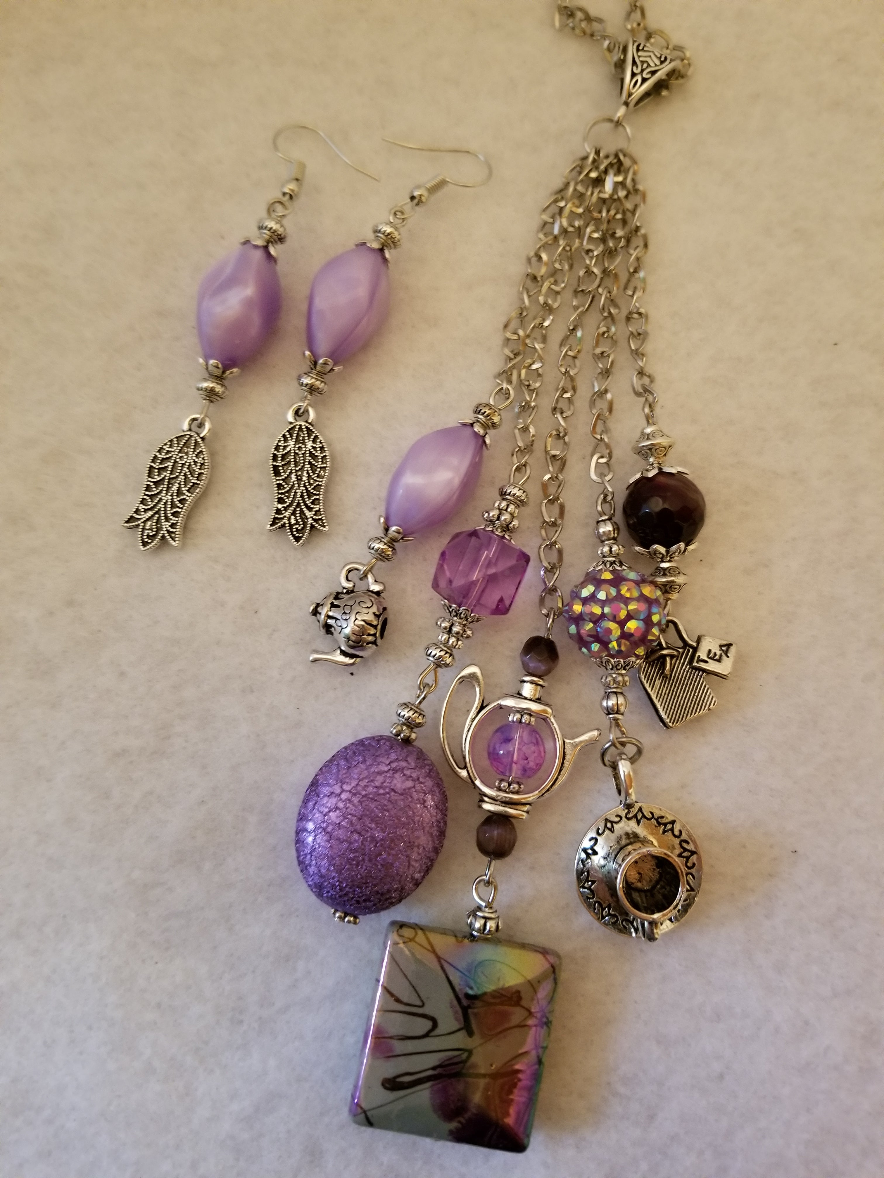 Purple Tea Necklace with Earrings