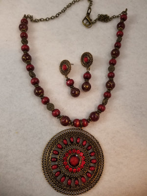 Red Hot Necklace with Earrings
