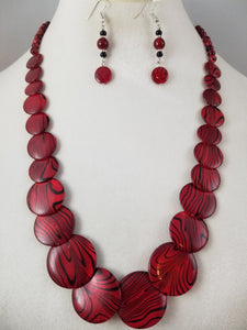 Red Zebra Necklace with Earrings