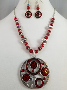 Red Circles Necklace with Earrings