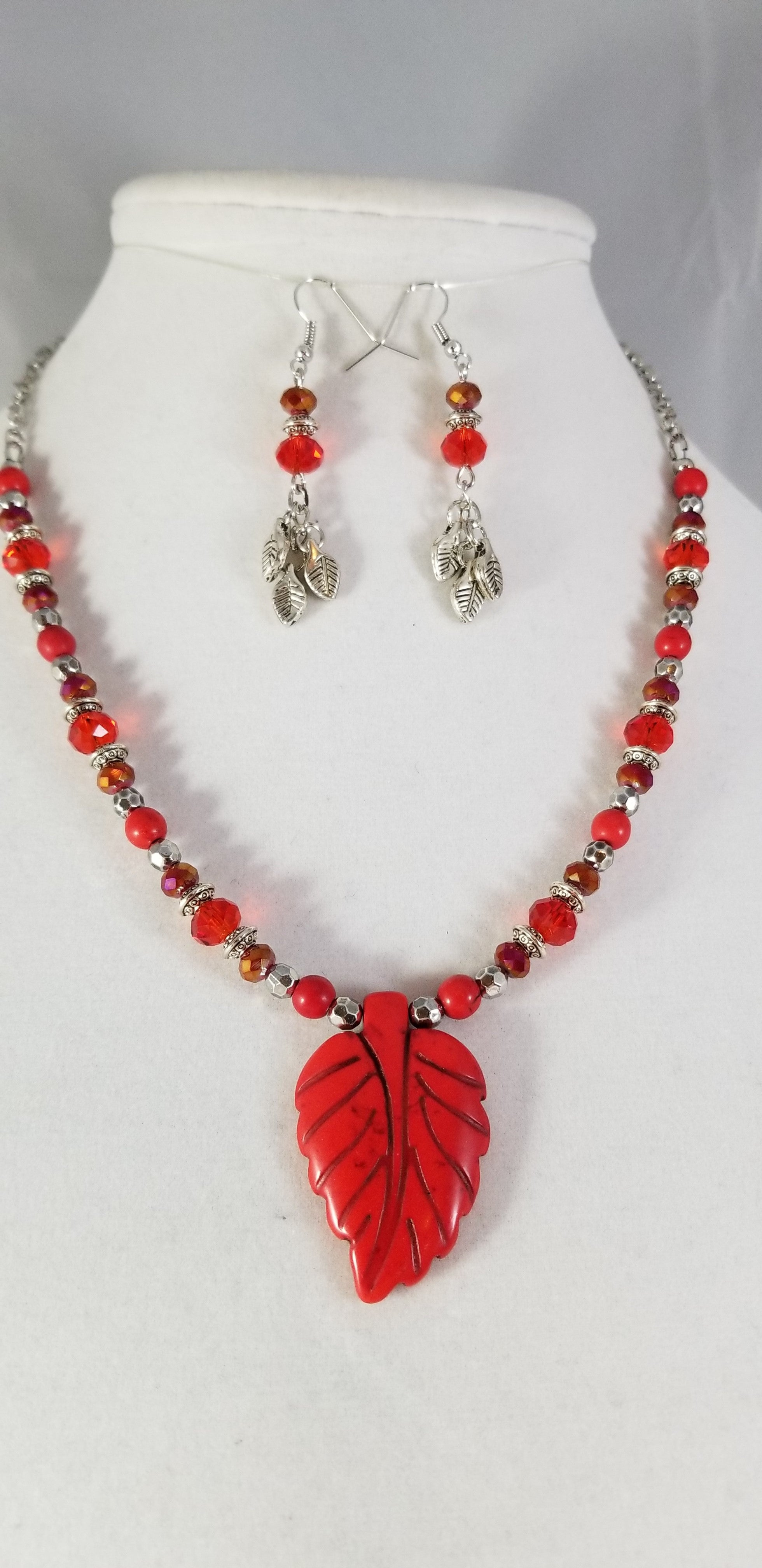 Red Leaf Necklace with Earrings