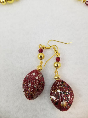 Red and Gold Necklace with Earrings