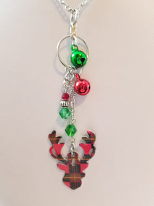 Reindeer Plaid Simply Chaming Christmas Necklace