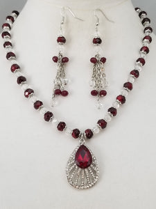 Ruby's Delight Necklace with Earrings