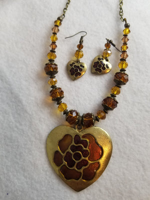 Russet Heart Necklace with Earrings