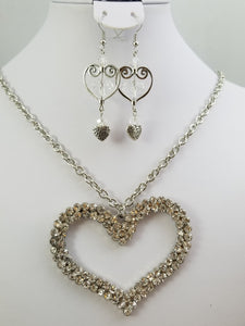 Shiny Heart Necklace with Earrings
