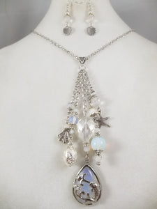 Silver Sea Necklace with Earrings