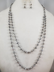 Silver Sparkles Necklace with Earrings