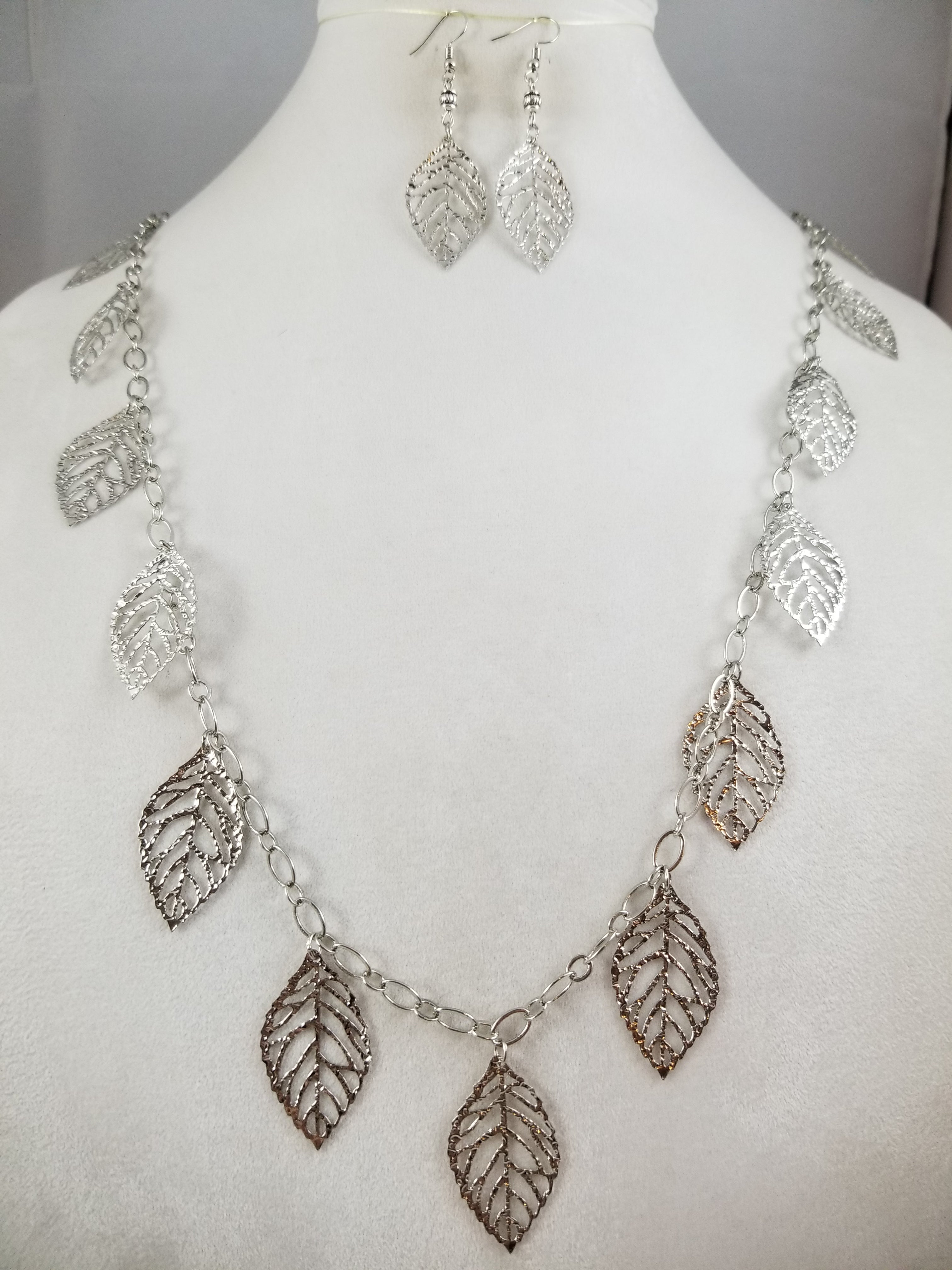 Silvery Leaf Necklace with Earrings