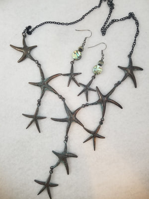 Starfish Patina Necklace with Earrings