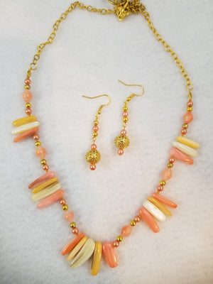 Summer Peach Necklace with Earrings