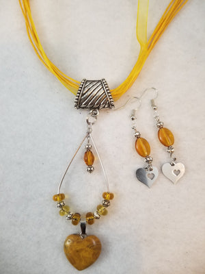 Sunshine Heart Necklace with Earrings