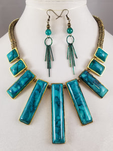 Teal Water Necklace with Earrings